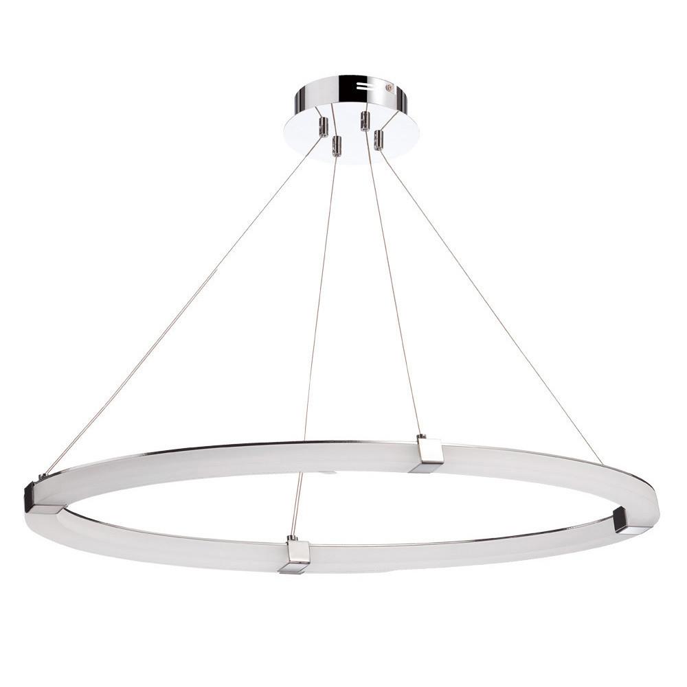 Taccía Pendant 28W LED Oval 3000K 2500lm Polished Chrome/Frosted Acrylic