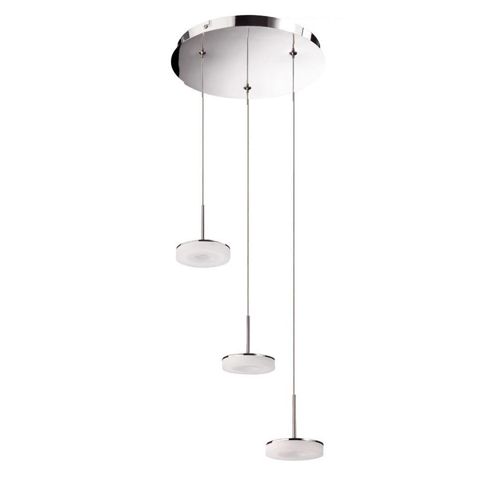 Nimbus 3 Drop Pendant 3 Light 15W LED 3000K, 1350lm, Polished Chrome/Frosted Acrylic