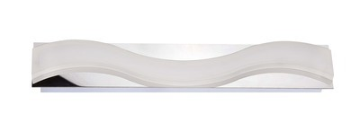 Ola Wall Lamp 7W LED Large Wave 3000K IP44, 630lm, Polished Chrome/Frosted Acrylic, 3yrs Warranty