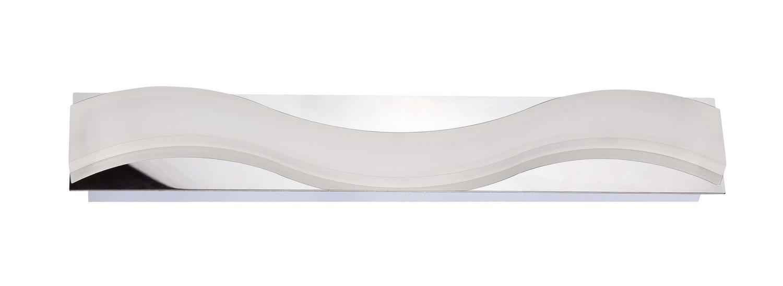 Ola Wall Lamp 7W LED Large Wave 3000K IP44, 630lm, Polished Chrome/Frosted Acrylic, 3yrs Warranty