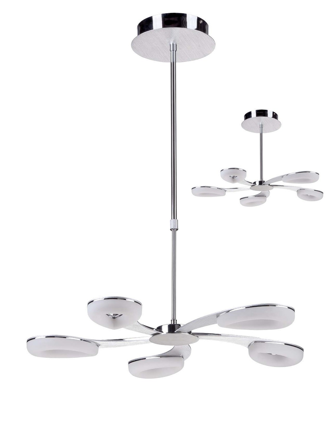Juno Telescopic 5 Light 30W LED 3000K, 2700lm, Satin Aluminium/Frosted Acrylic/Polished Chrome