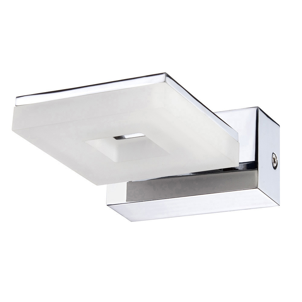 Marc Wall Lamp 1 Light 5W LED 3000K IP44, 450lm, Polished Chrome/Frosted Acrylic, 3yrs Warranty