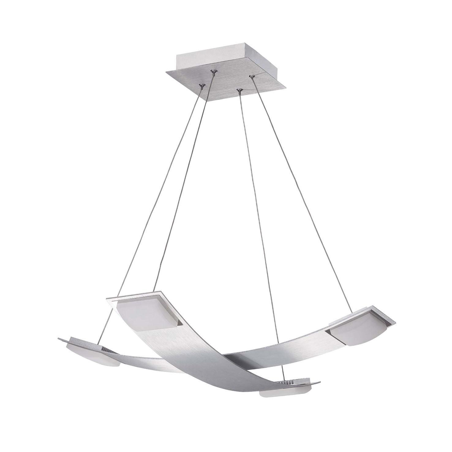 Thea Pendant 4 Light 28W LED 3000K, 2520lm, Satin Aluminium/Frosted Acrylic, 3yrs Warranty