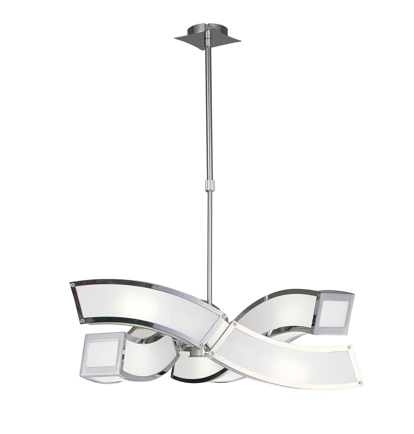 Duna GU10 Pendant 3 Arm 6 Light L1/SGU10, Polished Chrome/White Acrylic