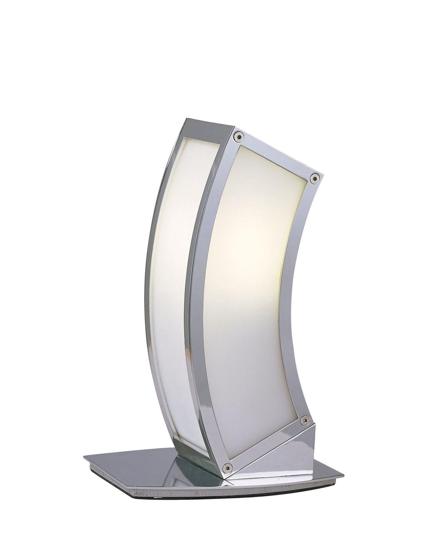Duna GU10 Table Lamp 1 Light L1/SGU10, Polished Chrome/White Acrylic
