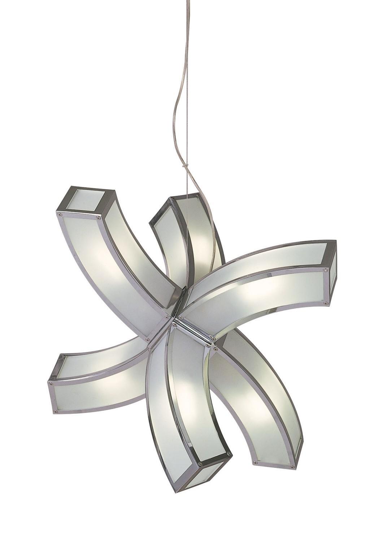 Duna GU10 Pendant 6 arms 6 Light L1/SGU10, Polished Chrome/White Acrylic