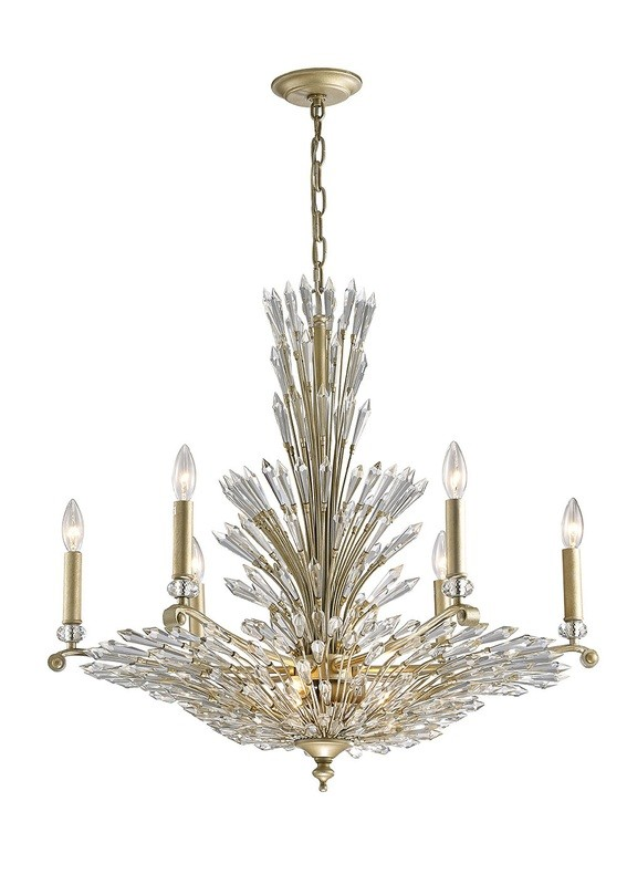 Fay Pendant 6+3 Light E14 Aged Gold/Silver/Crystal