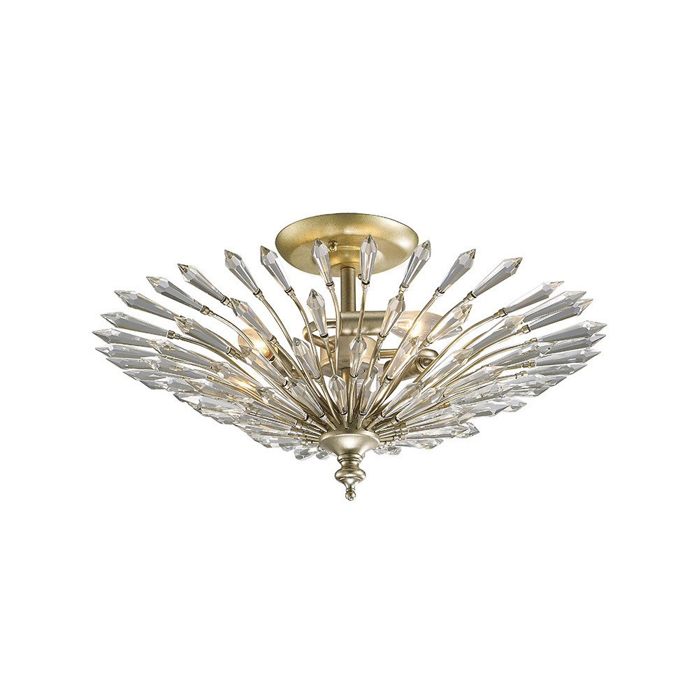 Fay Semi Ceiling 3 Light E14 Aged Gold/Silver/Crystal