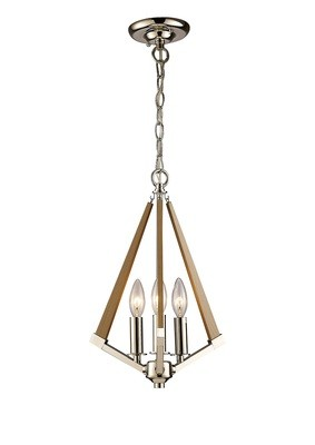 Hilton Tetragonal Pendant 3 Light E14 Polished Nickel/Taupe Wood