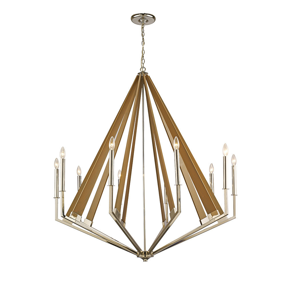 Hilton Decagonal Pendant 10 Light E14 Polished Nickel/Taupe Wood (ITEM REQUIRES ASSEMBLY)