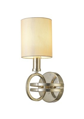 Isabella Wall Lamp With Beige Shade 1 Light Antique Silver