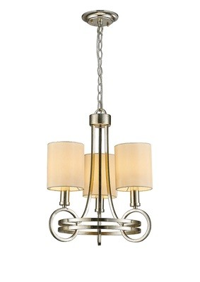 Isabella Pendant With Beige Shade 3 Light E14 Antique Silver/Teak Plated