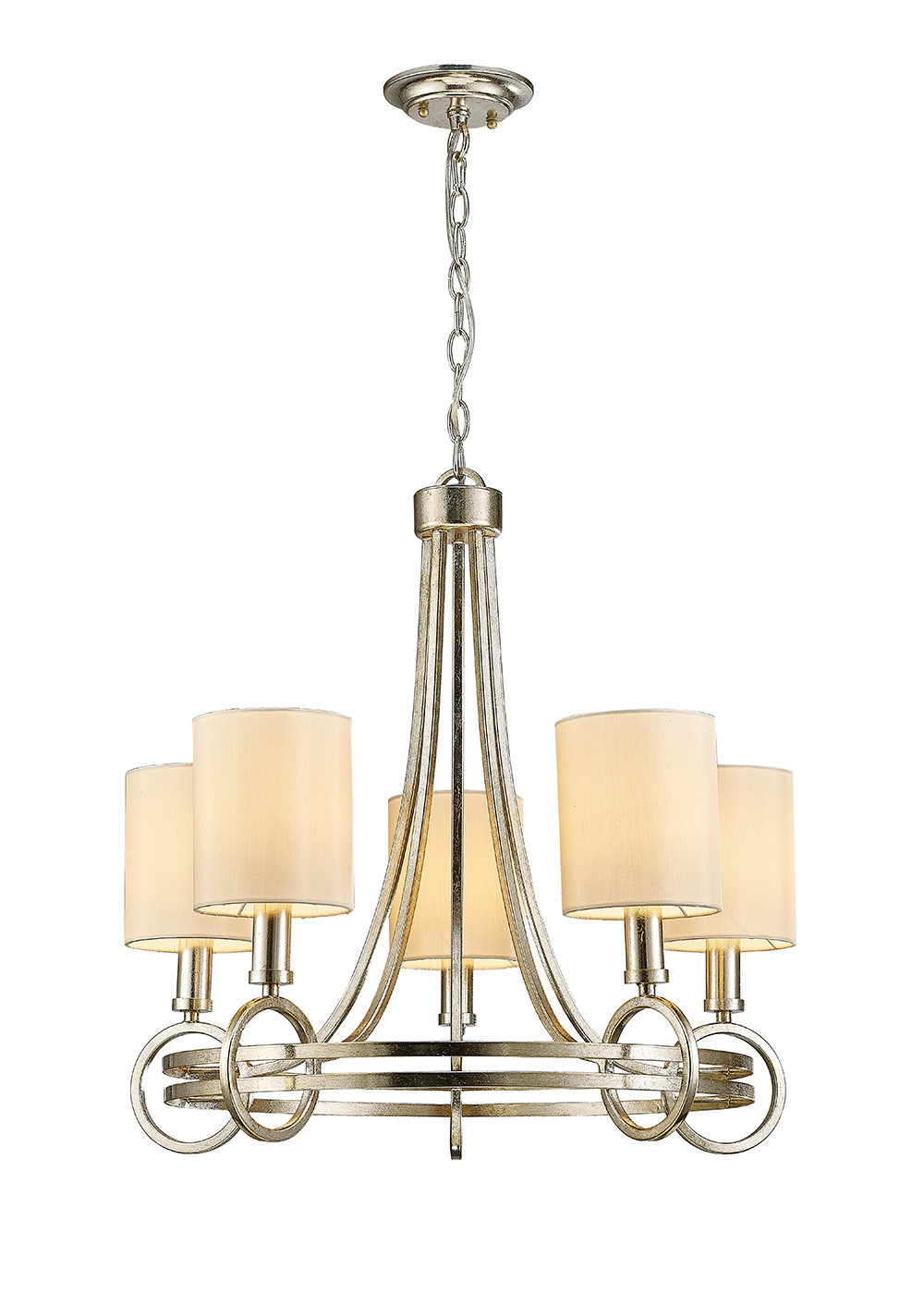 Isabella Pendant With Beige Shade 5 Light E14 Antique Silver/Teak Plated