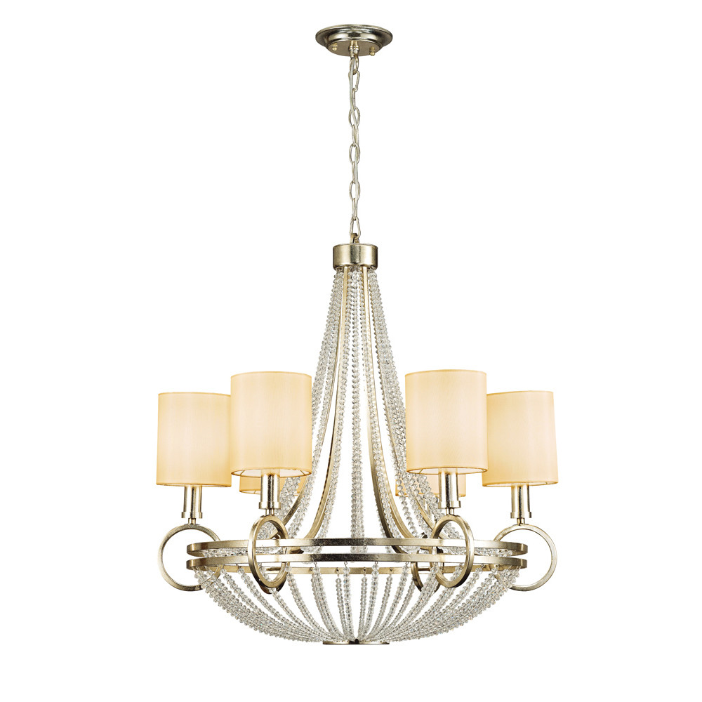 Isabella Pendant With Beige Shade 6 Light E14 Antique Silver/Teak Plated/Crystal