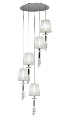 Tiffany Pendant 5+5 Light E27+G9 Spiral, Clear Crystal