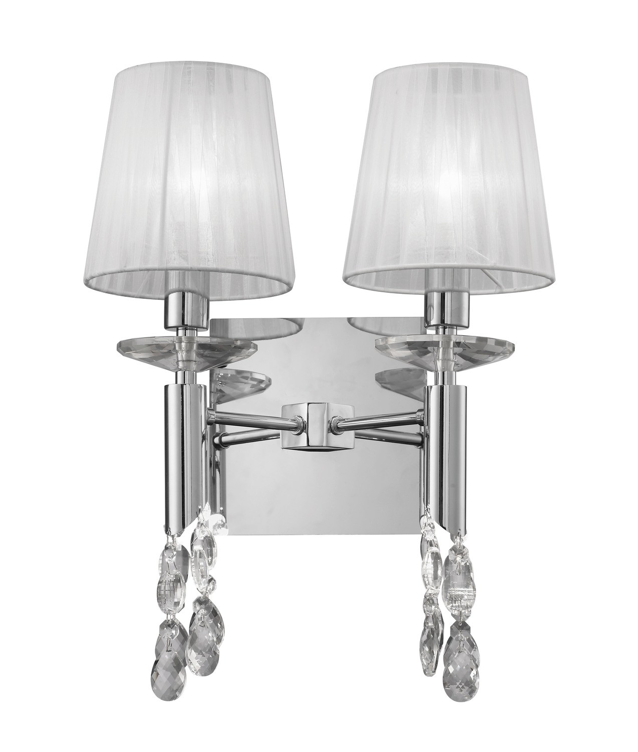 Tiffany Wall Lamp Switched 2+2 Light E14+G9, Polished Chrome With White Shades & Clear Crystal