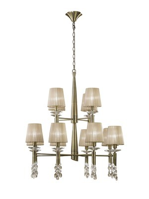 Tiffany Pendant 2 Tier 12+12 Light E14+G9, Antique Brass With Soft Bronze Shades & Clear Crystal