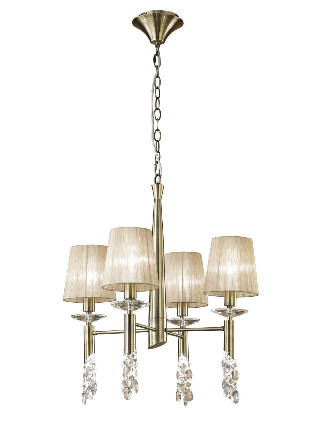 Tiffany Pendant 4+4 Light E14+G9, Antique Brass With Soft Bronze Shades & Clear Crystal