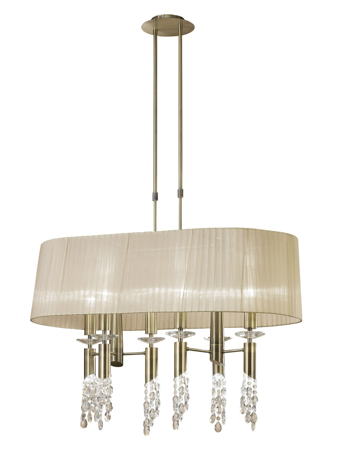 Tiffany Pendant 6+6 Light E27+G9 Oval, Antique Brass ,Clear Crystal