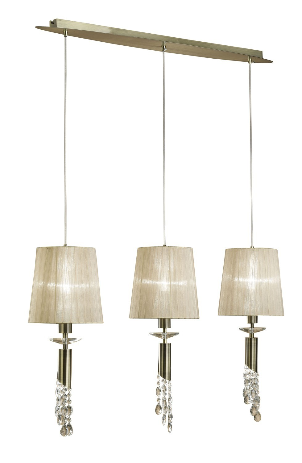 Tiffany Pendant 3+3 Light E27+G9 Line, Antique Brass With Soft Bronze Shades & Clear Crystal