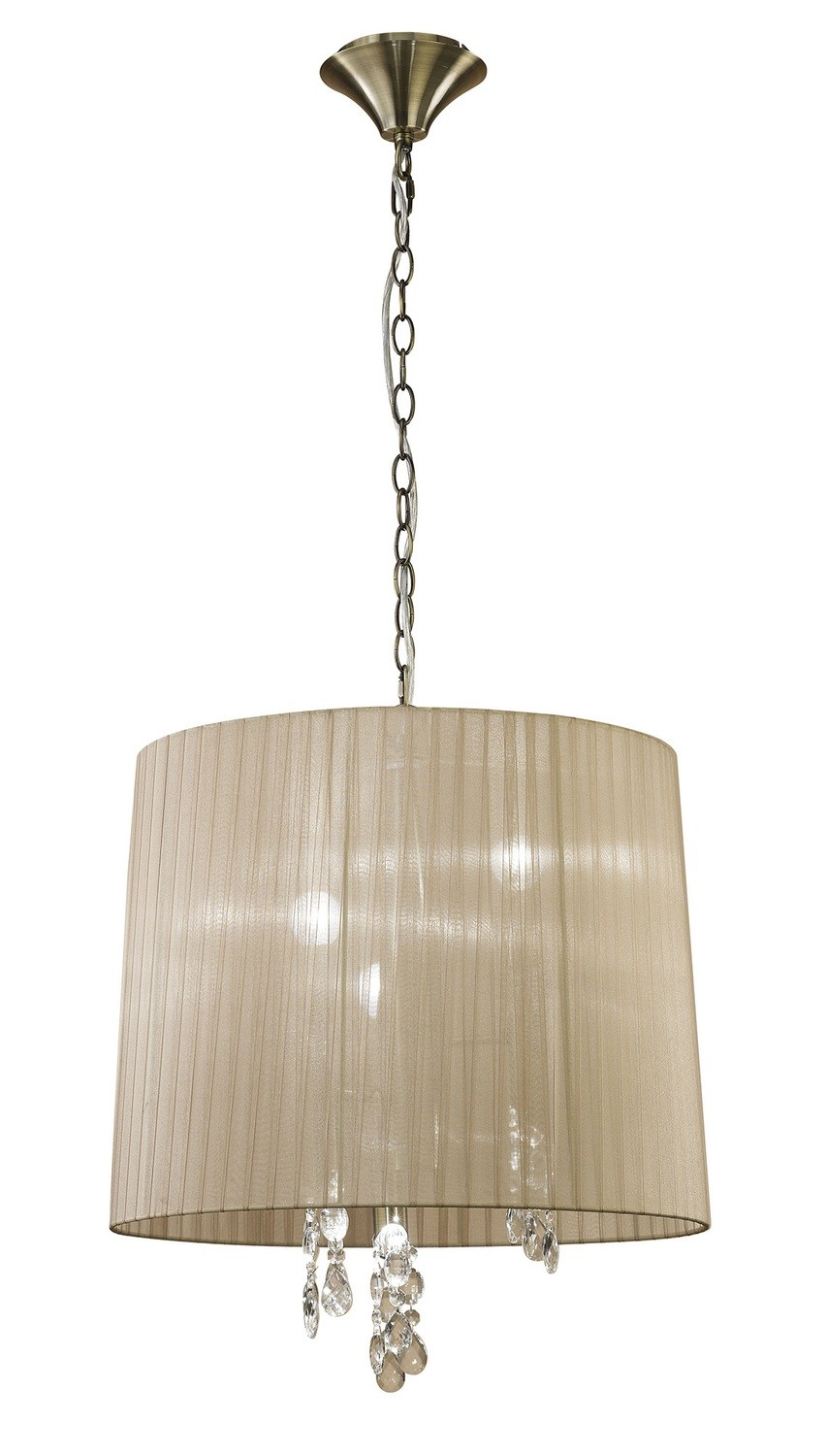 Tiffany Pendant 3+3 Light E14+G9, Antique Brass With Soft Bronze Shade & Clear Crystal