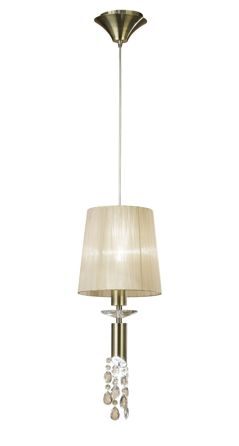 Tiffany Pendant 1+1 Light E27+G9, Antique Brass With Soft Bronze Shade & Clear Crystal