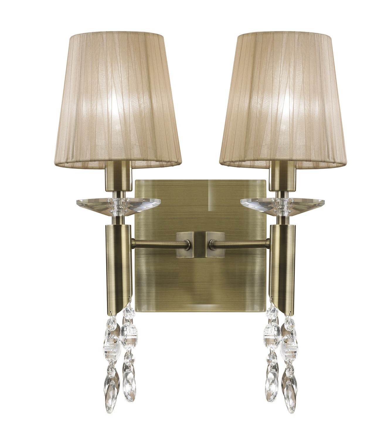 Tiffany Wall Lamp Switched 2+2 Light E14+G9, Antique Brass With Soft Bronze Shades & Clear Crystal
