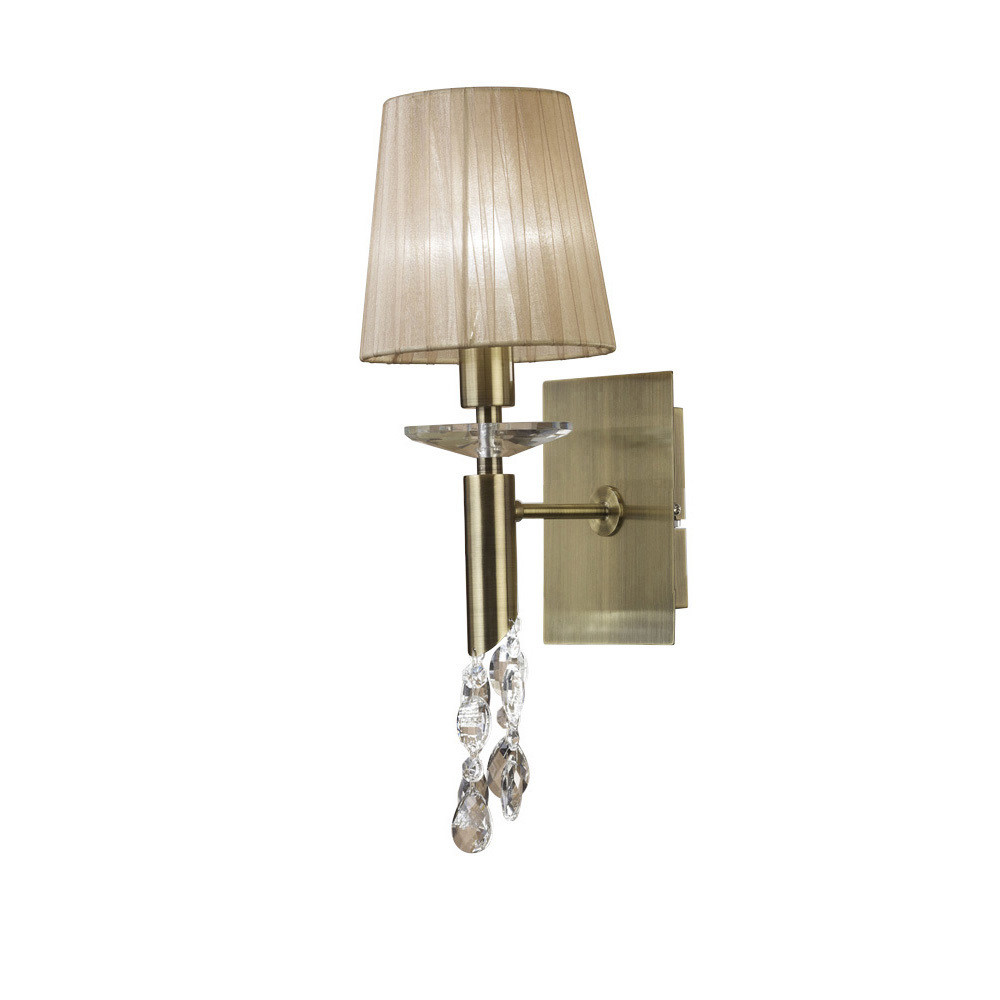 Tiffany Wall Lamp Switched 1+1 Light E14+G9, Antique Brass With Soft Bronze Shade & Clear Crystal