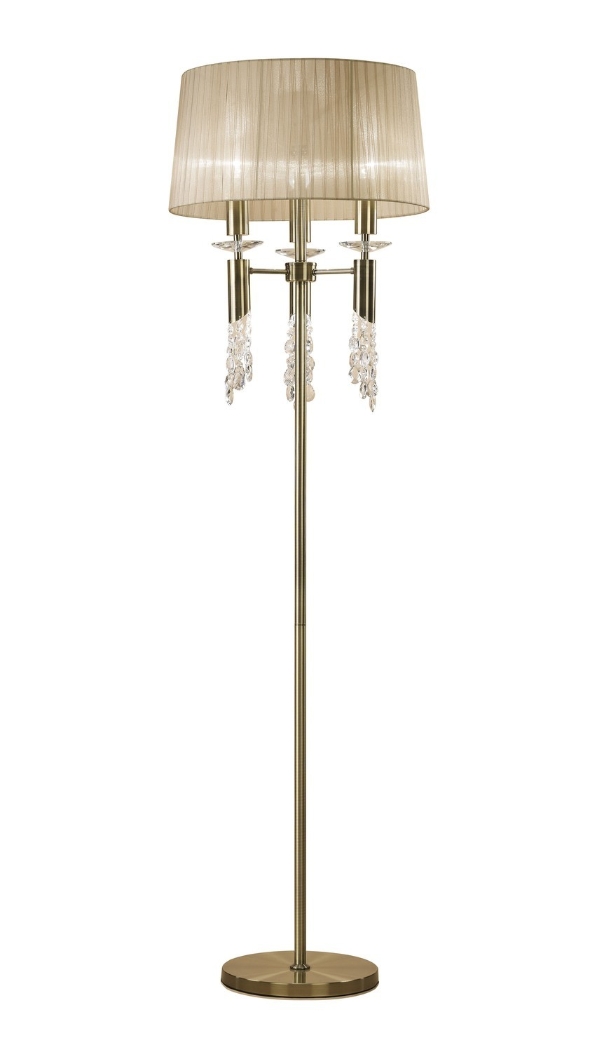 Tiffany Floor Lamp 3+3 Light E27+G9, Antique Brass With Clear Crystal