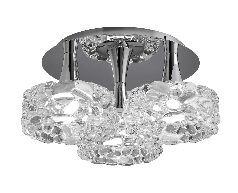 O2 Ceiling 3 Light E27 Large, Polished Chrome