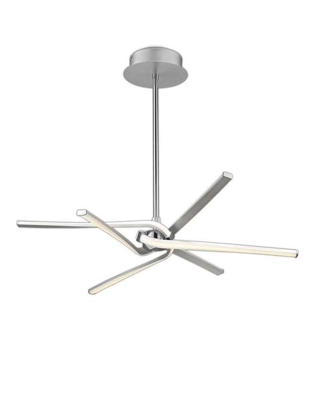 Knot Telescopic\Semi Ceiling 45W LED Curved Arms 3000K, 3150lm, Silver/Frosted Acrylic/Polished Chrome