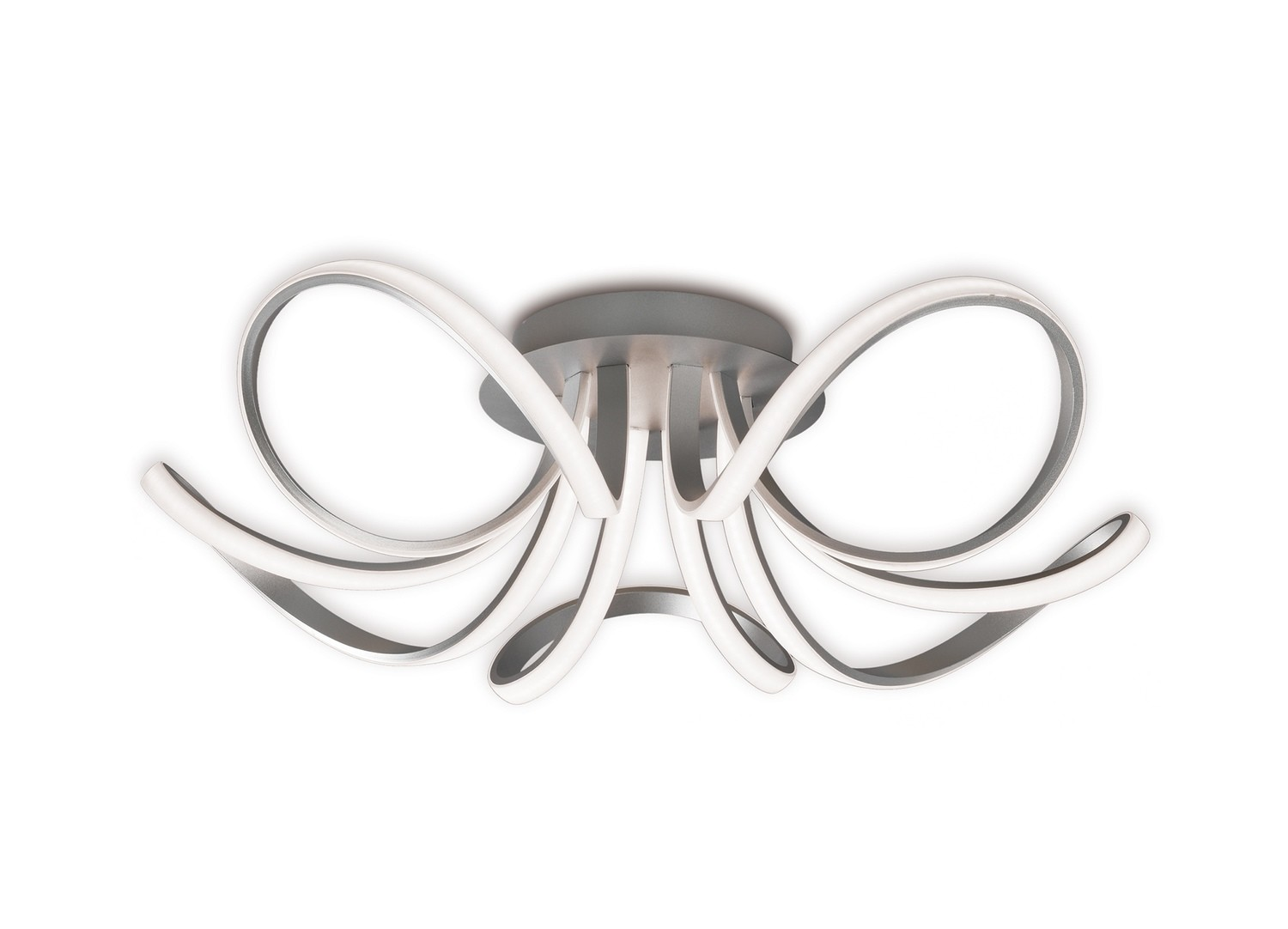 Mantra M5916 Knot Ceiling 74cm Round 5 Looped Arms 60W LED 3000K, 4800lm, Dimmable Silver/Frosted Acrylic/Polished Chrome, 3yrs Warranty