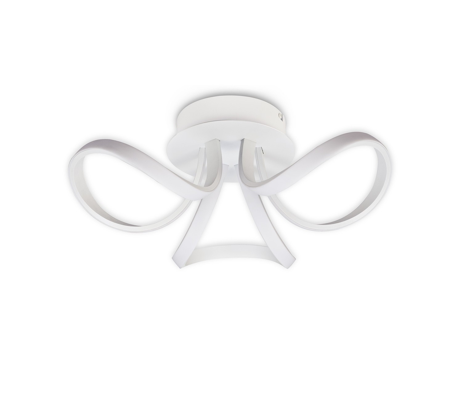 Mantra M6035 Knot Blanco Ceiling 48cm Round 3 Looped Arms 36W LED 2800K, 2520lm, White/ Frosted Acrylic, 3yrs Warranty
