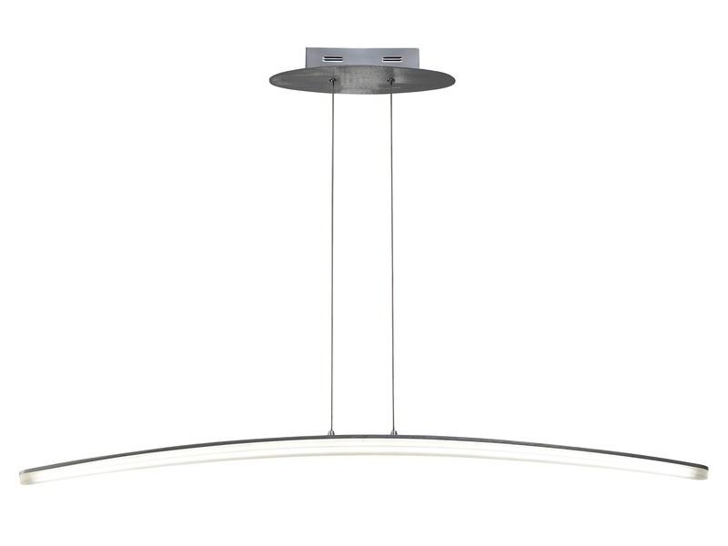 Hemisferic Pendant 28W LED 110cm Bar 3000K, 1800lm, Satin Aluminium/Frosted Acrylic
