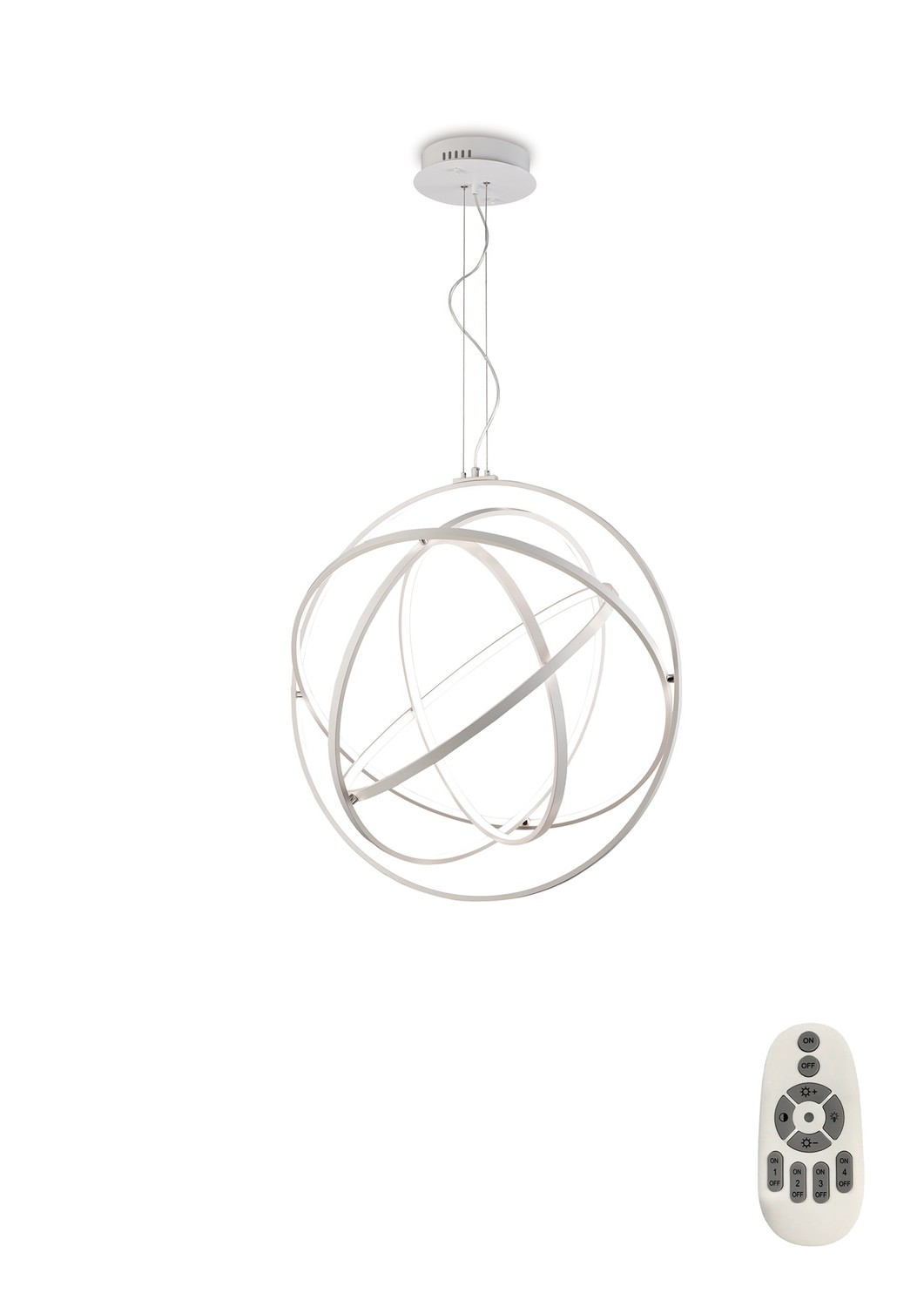 Mantra M5740 Orbital Pendant Round 80cm, 5 Ring, 130W LED 3000K, 4250lm, RF Remote Control White, 3yrs Warranty