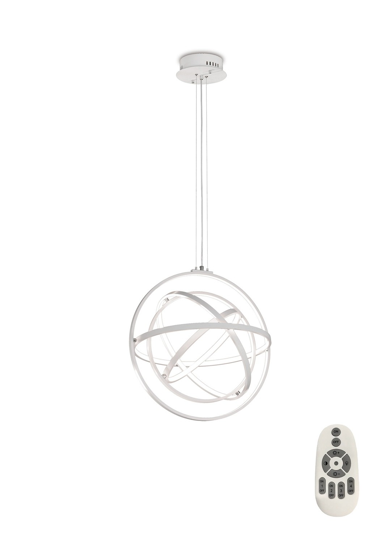 Orbital Pendant Round 60cm, 4 Ring, 90W LED 3000K, 3250lm, RF Remote Control, White