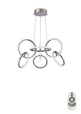 Aros Pendant 89cm Diameter, 7 Ring, 81W LED 3000K, 3500lm, RF Remote Control, Chrome