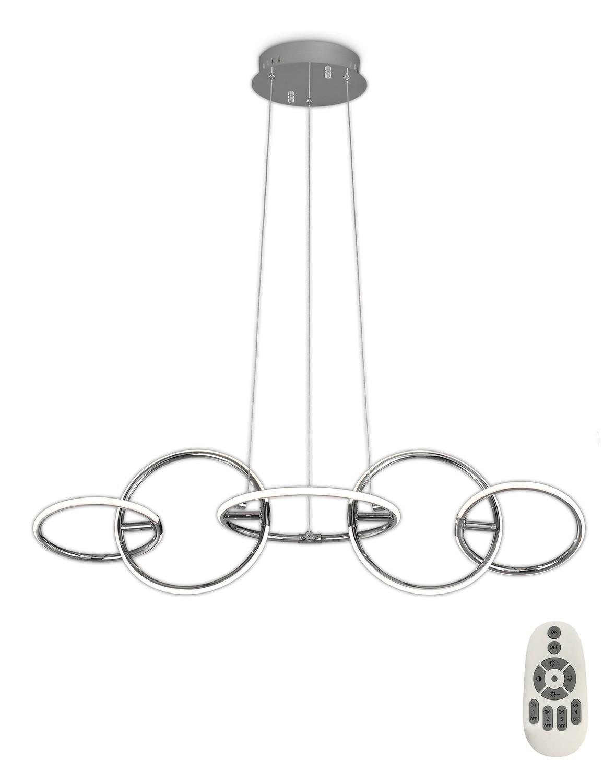 Aros Pendant 108cm x 35cm, 5 Ring, 59W LED 3000K, 2600lm, RF Remote Control, Chrome