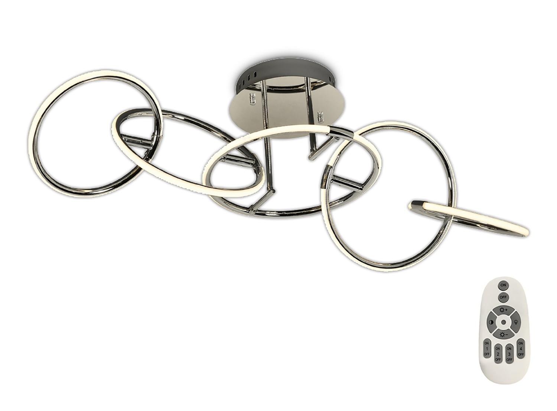 Mantra M5755 Aros Ceiling 108cm x 35cm, 5 Ring, 59W LED 3000K, 2600lm, Chrome, RF Remote Control, 3yrs Warranty