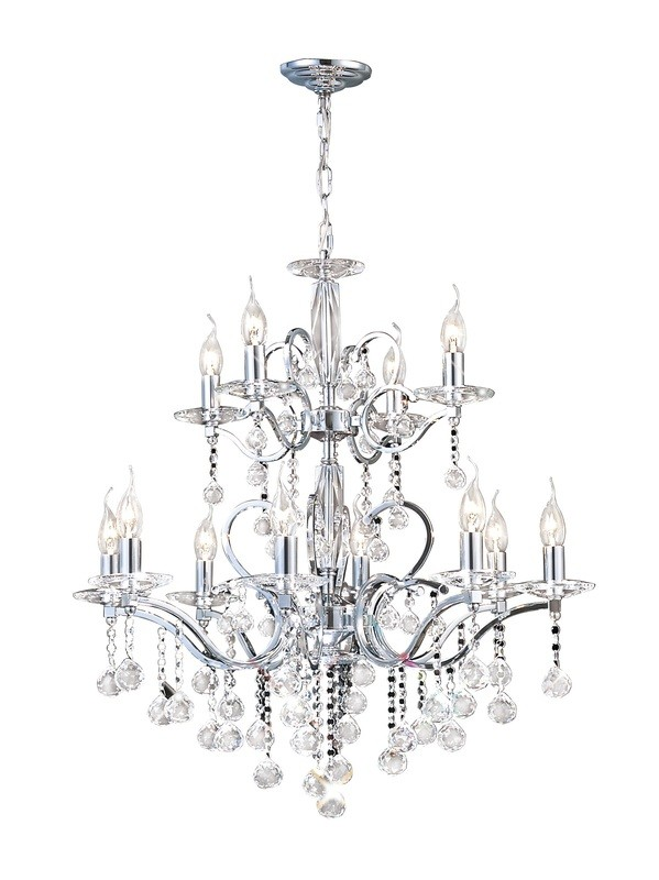 Zinta Pendant 2 Tier 12 Light Polished Chrome/Crystal (ITEM REQUIRES ASSEMBLY)