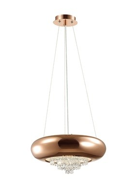 Phyllis Large Pendant 3 Light G9 Polished Copper/Crystal