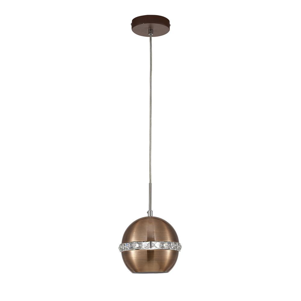 Andrea Single Pendant 1 Light E27 Satin Copper/Crystal