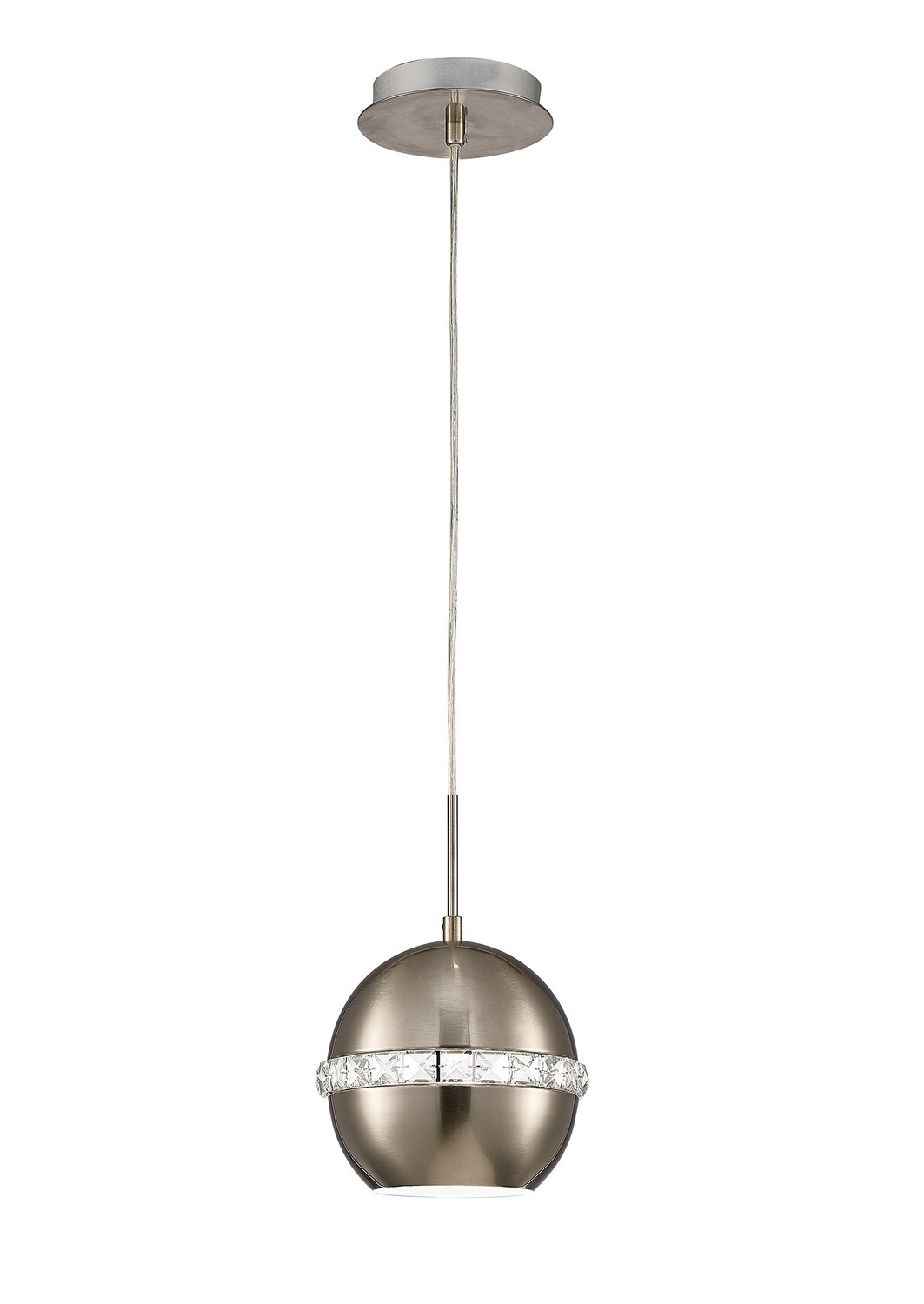 Andrea Single Pendant 1 Light E27 Satin Nickel/Crystal