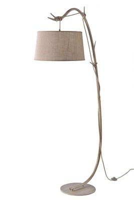Sabina Floor Lamp 182cm 1 x E27  Imitation Wood Linen Shade