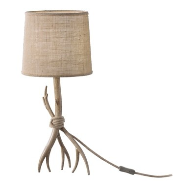 Sabina Table Lamp 57cm, 1 x E27 (Max 40W), Imitation Wood, Linen Shade.