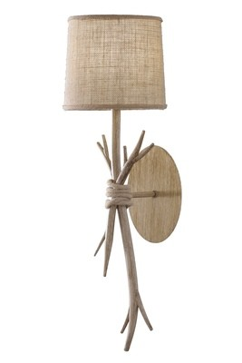 Sabina Wall Lamp, 1 x E27 (Max 40W), Imitation Wood, Linen Shade,
