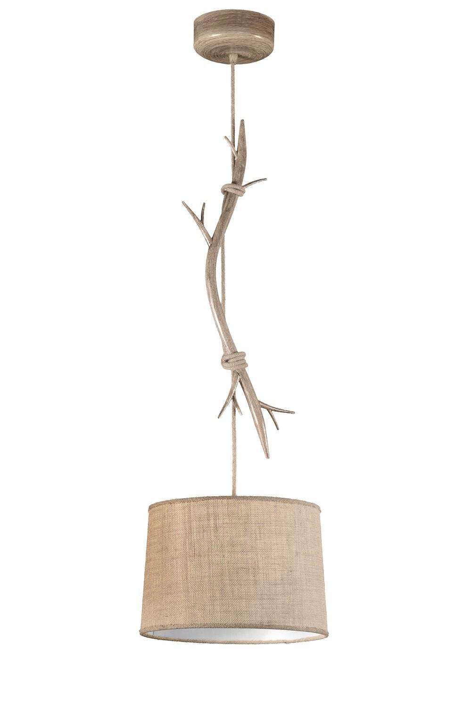 Sabina Pendant 35cm Round, 1 x E27 (Max 40W), Imitation Wood, Linen Shade