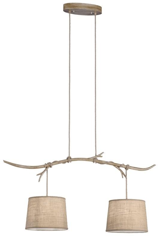 Sabina Pendant 2 x E27 (Max 40W), Imitation Wood, Linen Shade,