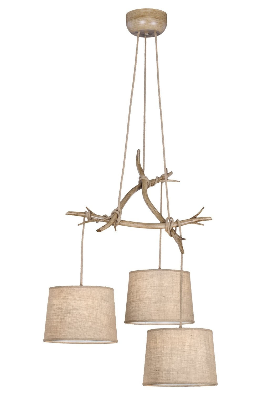 Sabina Pendant 3 x E27 (Max 40W), Imitation Wood, Linen Shade