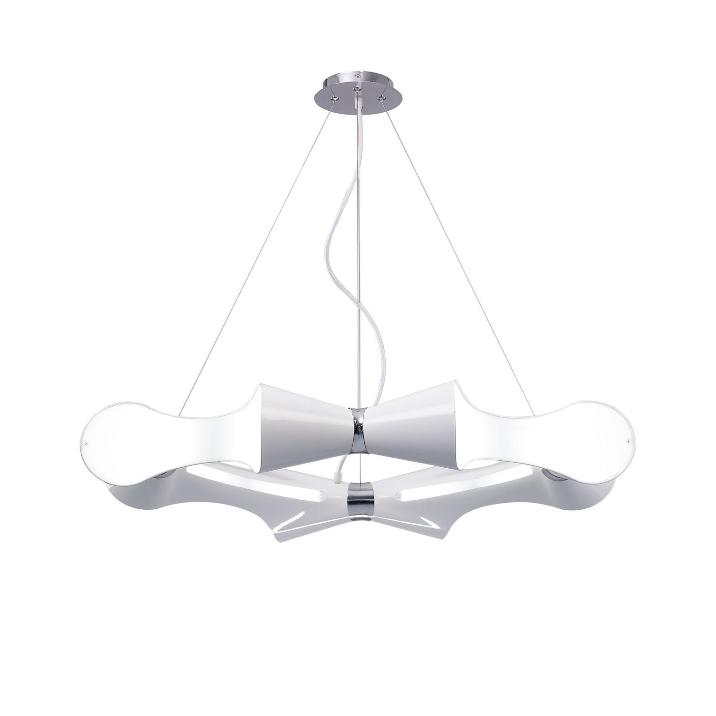 Ora Pendant 8 Flat Round Light E27, Gloss White/White Acrylic/Polished Chrome